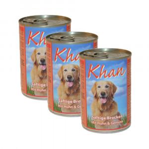 Hundefutter Saftige Brocken Huhn & Gemüse, 3x400g