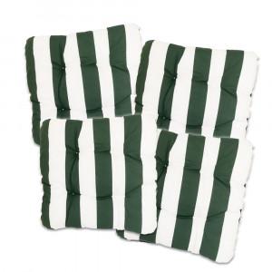 Sitzkissen, 40x40x8cm, 4er Set, grün-weiß