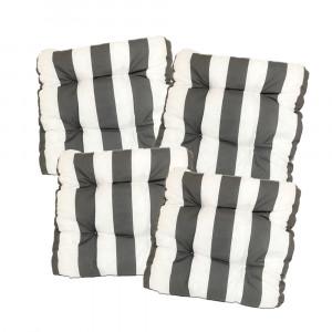 Sitzkissen, 40x40x8cm, 4er Set, grau-weiß